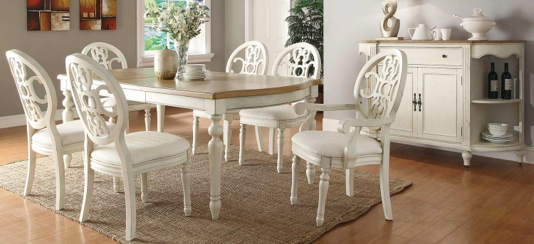 Rebecca Dining Set - Antique White/Oak