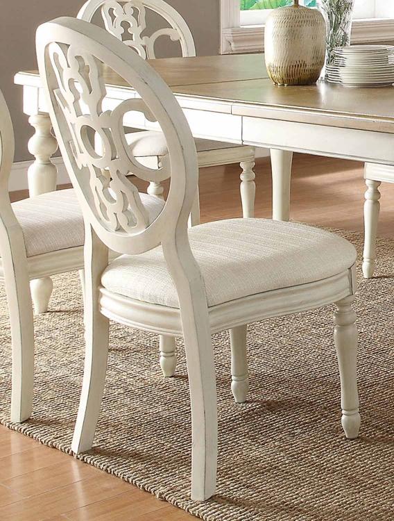 Rebecca Side Chair - Antique White/Oak