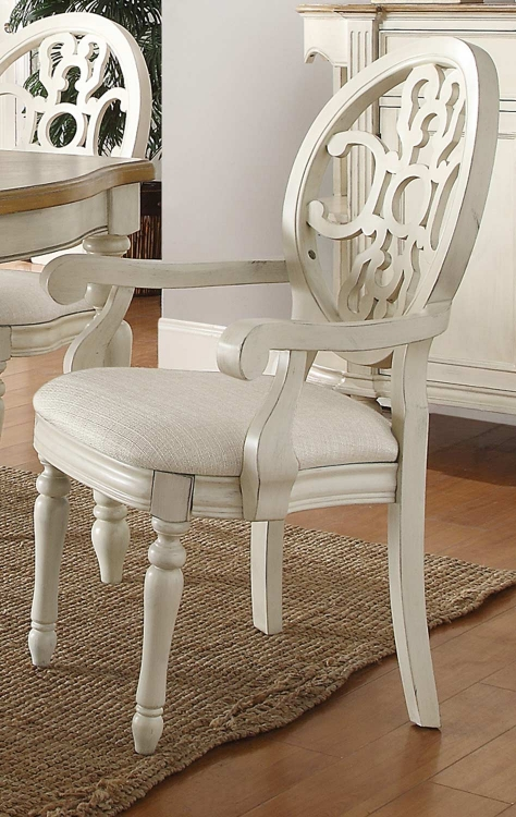 Rebecca Arm Chair - Antique White/Oak