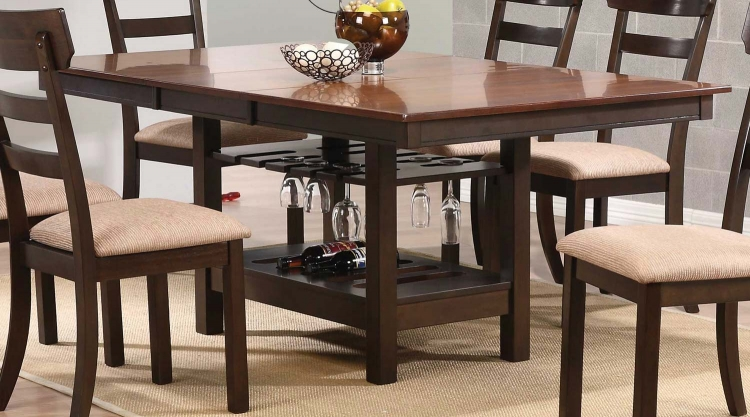 Greenbury Dining Table with Wine Rack Base - Golden Brown/Coffee