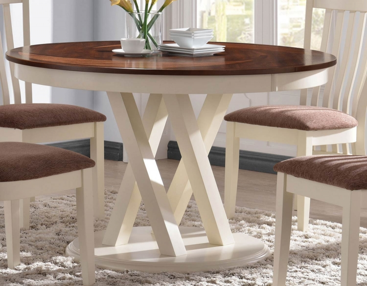 Naomi Dining Table - Rustic Pecan/Butt ermilk