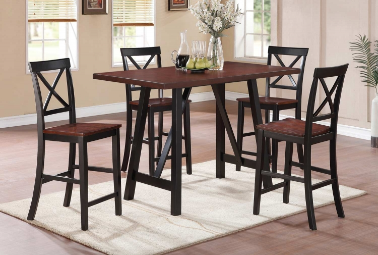 Makelim Counter Height Dining Set - Black/Walnut