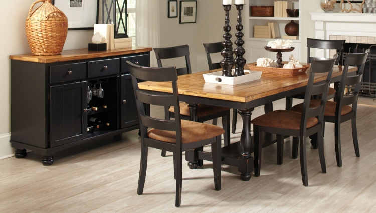 Charlotte Dining Set - Oak/ Black