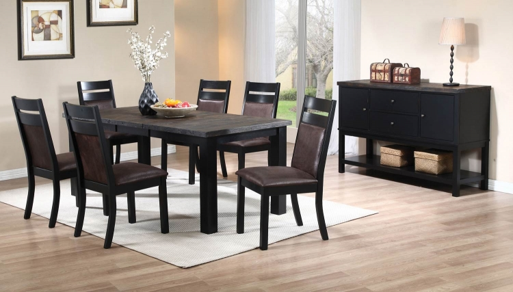 Arlington Dining Set - Wire Brushed Oak/Antique Black