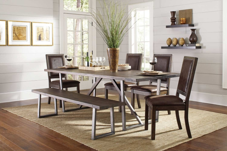 Genoa Dining Set - Wire Brushed Cocoa/Metal