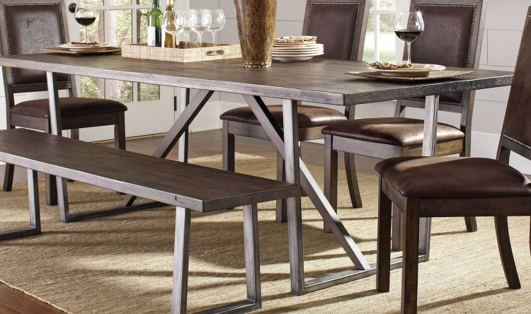 Genoa Dining Table - Wire Brushed Cocoa/Metal