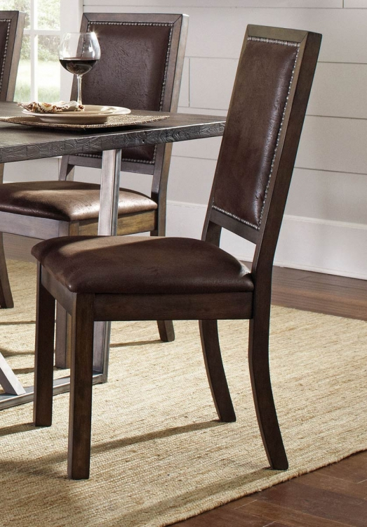 Genoa Side Chair - Wire Brushed Cocoa/Metal