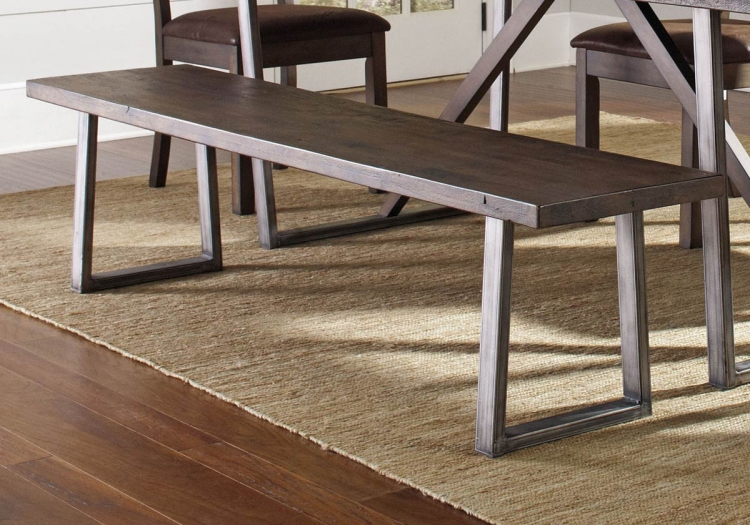 Genoa Bench - Wire Brushed Cocoa/Metal