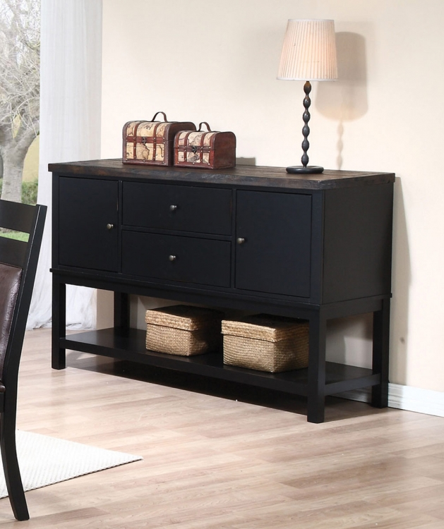 Arlington Server - Wire Brushed Oak/Antique Black