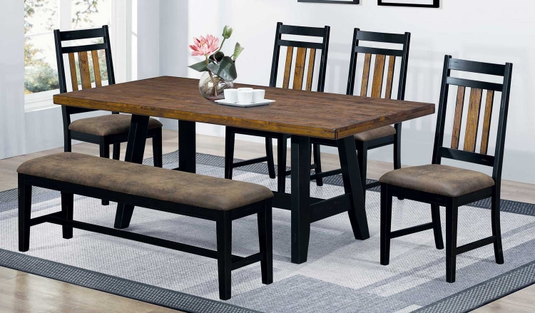 Waller Dining Set - Rustic Brown/Black
