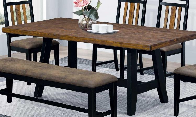 Waller Dining Table - Rustic Brown/Black