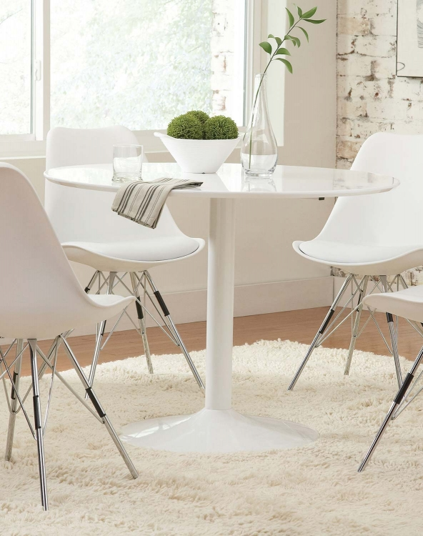 Lowry Round Dining Table - White Metal