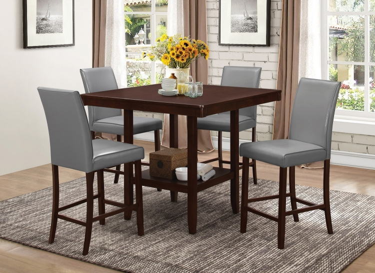 Fattori Counter Height Dining Set - Espresso/Grey Leatherette