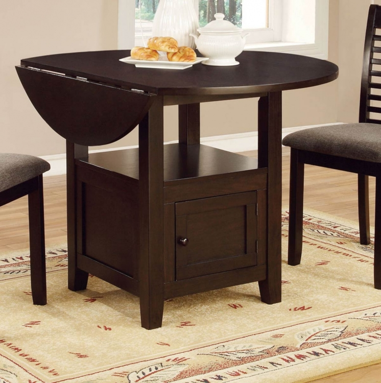 Stockton Drop Leaf Storage Dining Table - Dark Brown