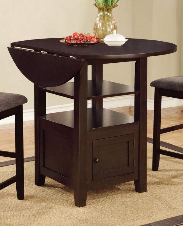 Stockton Drop Leaf Storage Counter Height Table - Dark Brown