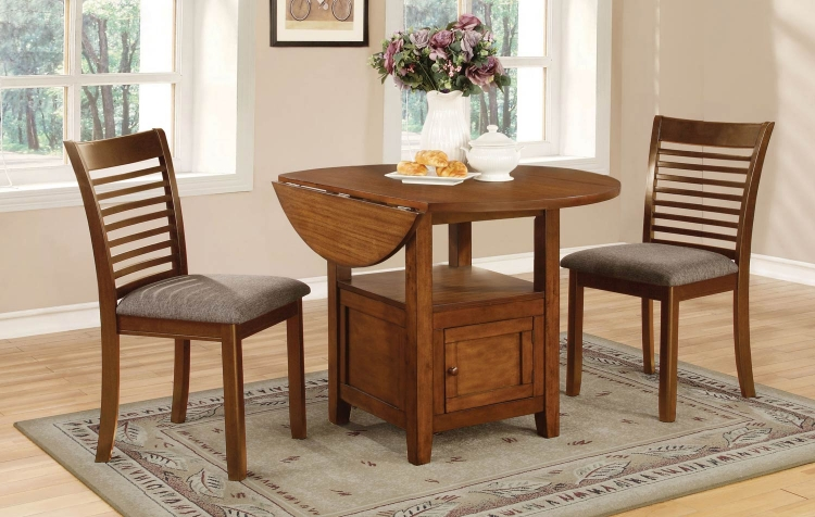 Stockton Drop Leaf Storage Dining Collection - Warm Brown