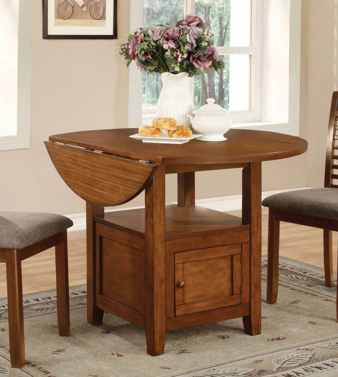 Stockton Drop Leaf Storage Dining Table - Warm Brown