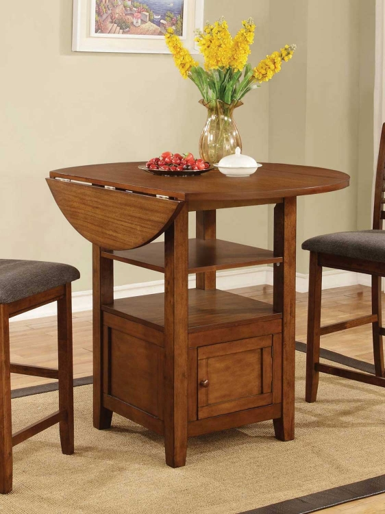 Stockton Drop Leaf Storage Counter Height Table - Warm Brown