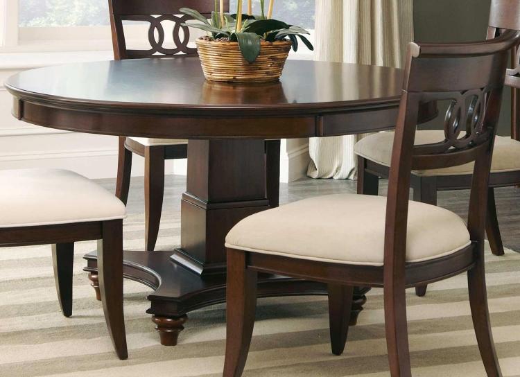 Alyssa Round Dining Table - Dark Cognac