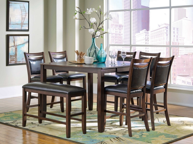 Dupree Counter Height Dining Set - Dark Brown