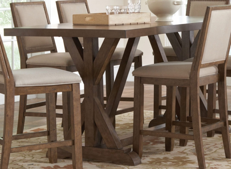 Bridgeport Counter Height Table - Weathered Acacia
