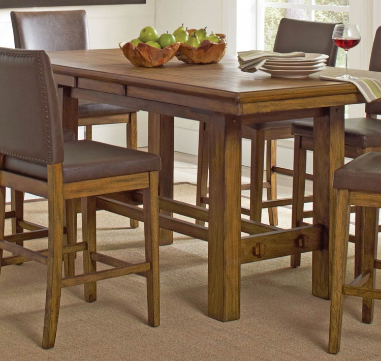Salerno Counter Height Table - Wire Brushed Amber