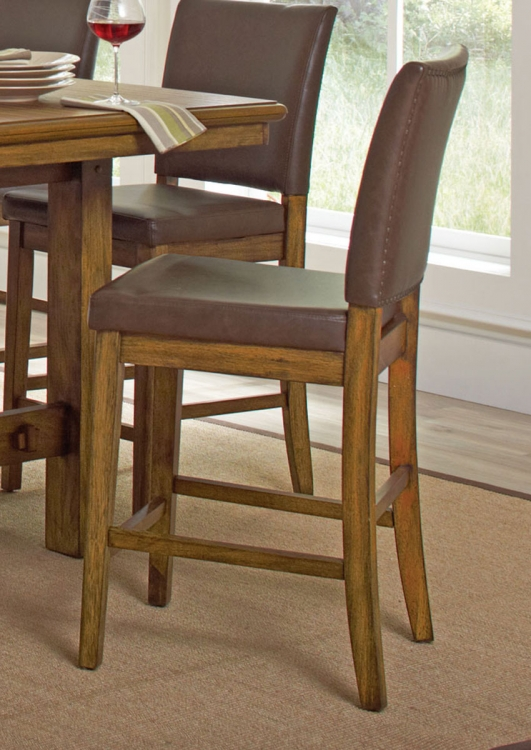 Salerno Counter Height Chair - Wire Brushed Amber