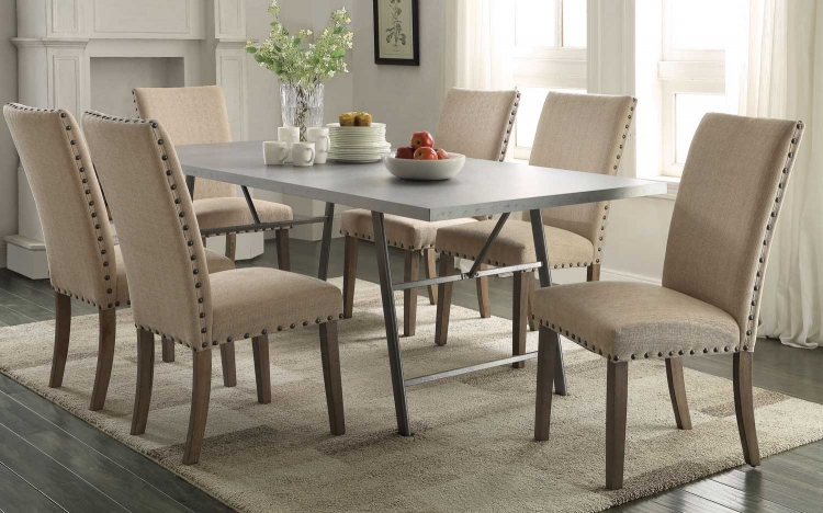 Amherst Dining Set - Natural/Gunmetal