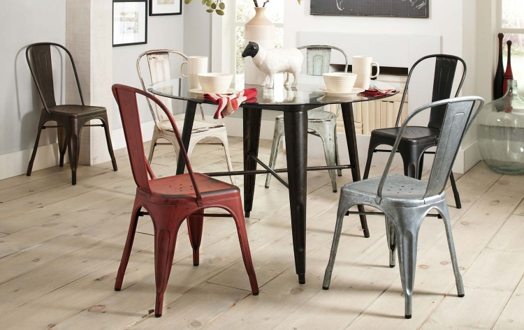 Bellevue Round Glass Dining Set - Antique Rustic