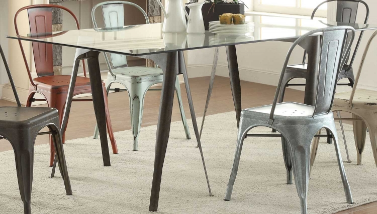 Bellevue Glass Dining Table - Antique Rustic