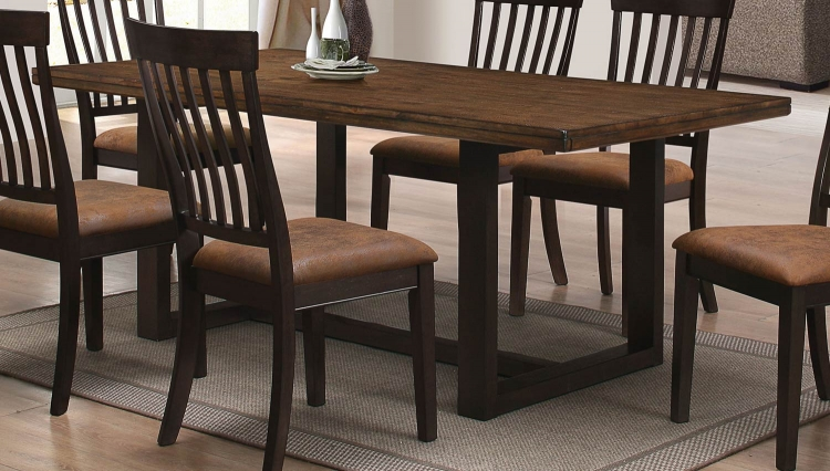 Wood River Dining Table - Two tone rustic Amber & Charcoal