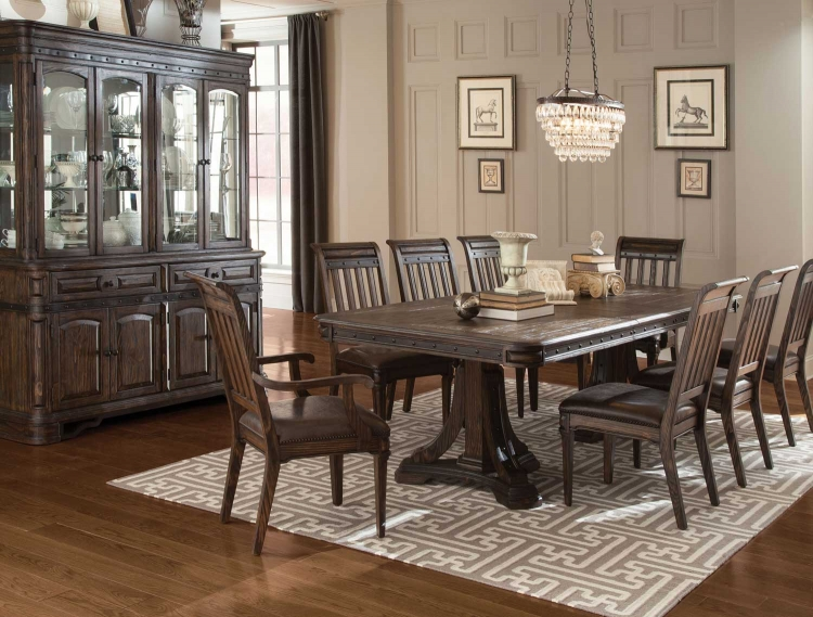 Carlsbad Double Pedestal Dining Collection - Dark Brown