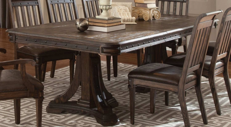 Carlsbad Double Pedestal Dining Table - Dark Brown