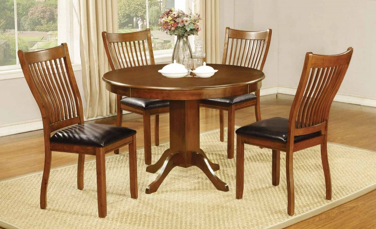 Sierra Round Dining Collection - Amber/Black Leatherette