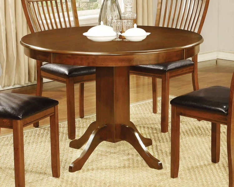 Coaster Sierra Round Pedestal Dining Table - Amber