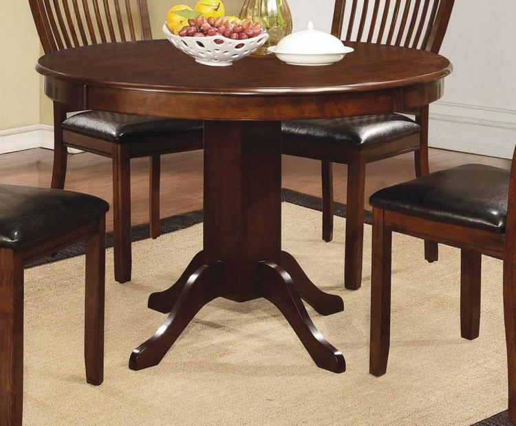 Coaster Sierra Round Pedestal Dining Table - Cherry Brown