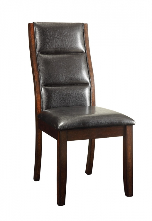 Lacombe Side Chair - Cappuccino/Black Leatherette