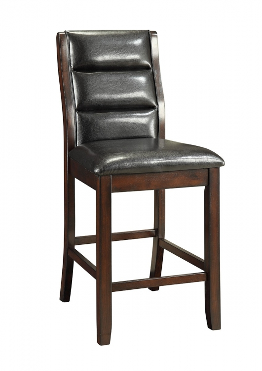 Lacombe Counter Height Chair - Cappuccino/Black Leatherette