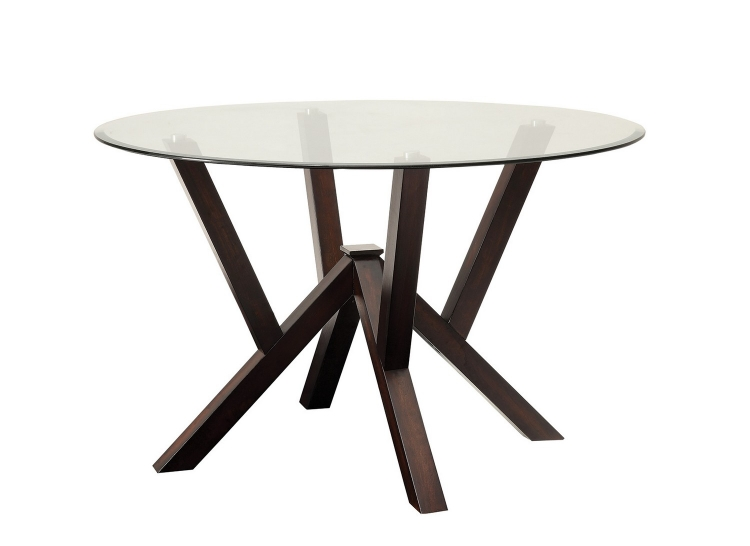 Beaux Glass Top Round Dining Table - Cappuccino/Glass Top