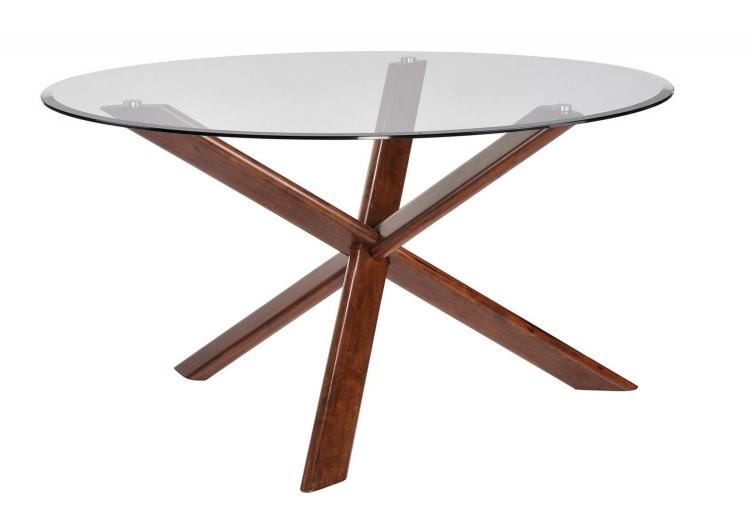 Barett Glass Top Round Dining Table - Chestnut