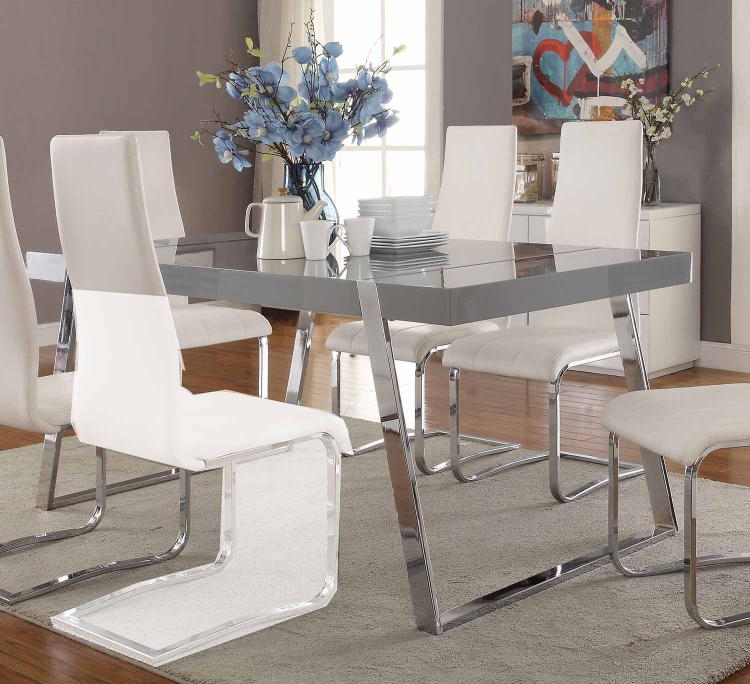 Giovanni Rectangular Dining Table - High Gloss Grey