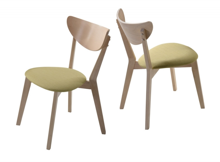 Appel Side Chair - White - White Wash/Pale Green Fabric