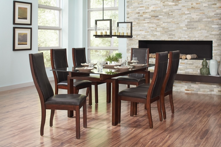 Rossine Glass Top Rectangular Dining Set - Red Brown