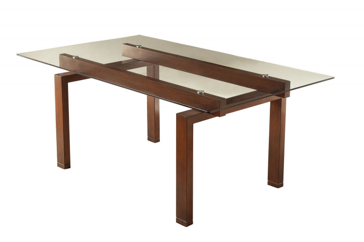 Rossine Glass Top Rectangular Dining Table - Red Brown