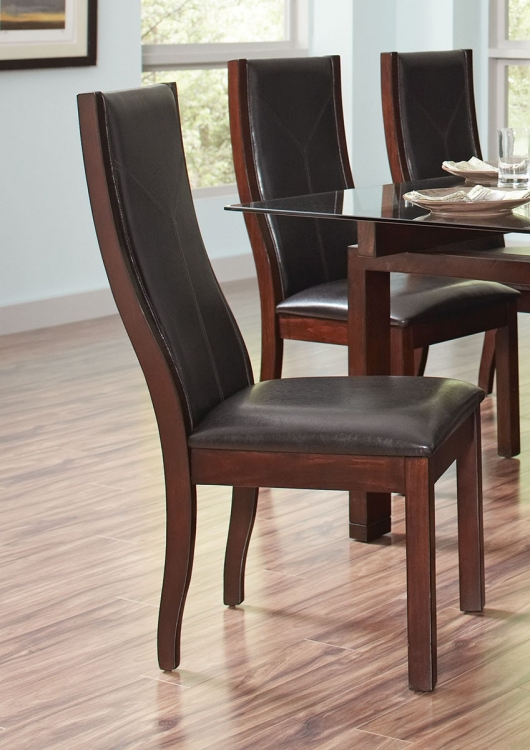 Rossine Side Chair - Red Brown/Black Leatherette