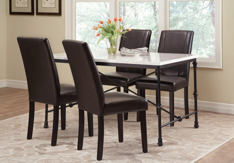 Nagel Dining Table - Dark Rustic Metal/Faux Marble Top
