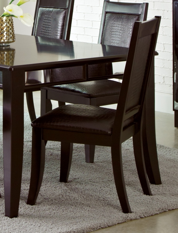 Middleton Side Chair - Cappuccino/Black Crocodile Leatherette