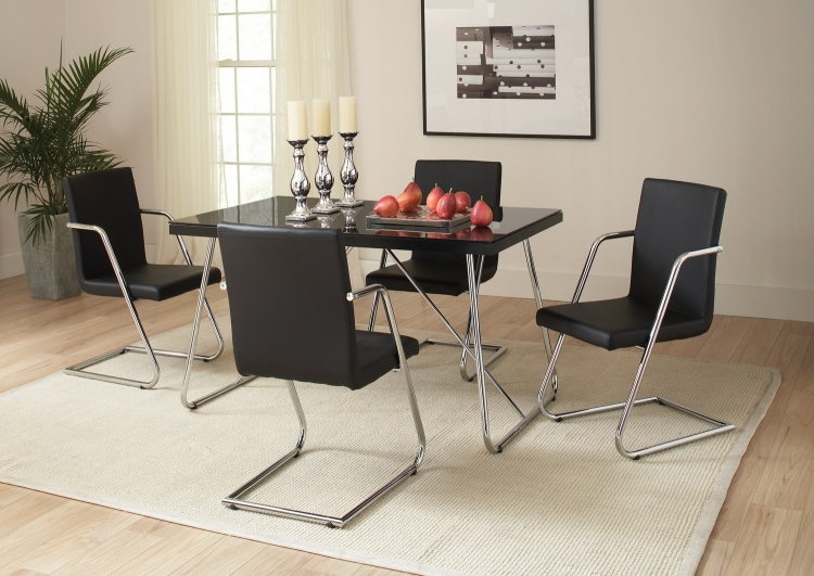 Avram Dining Table - Chrome/Black Glass
