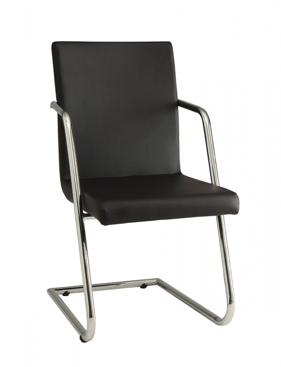 Avram Side Chair - Chrome/Black Leatherette