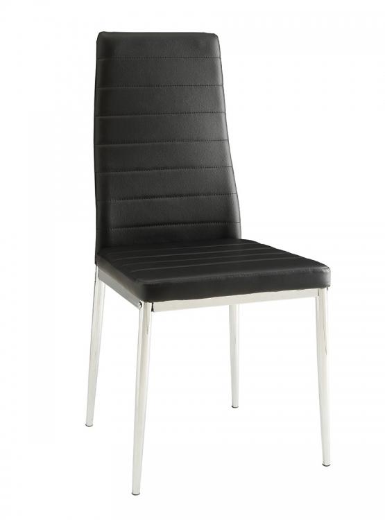Eldridge Side Chair - Chrome/Black Leatherette